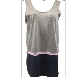 COS Sleeveless Silk Cotton Top Blouse Gray Navy M